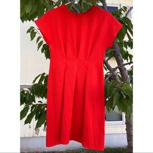 NWT ASOS Red Orange Triple Pleat Detail Mini Dress